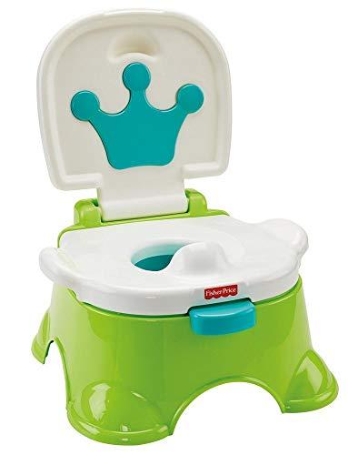 Fisher-Price DLT00 - Lerntöpfchen Toilettentrainer mit Fußbank mitwachsendes Töpfchen grün inkl....
