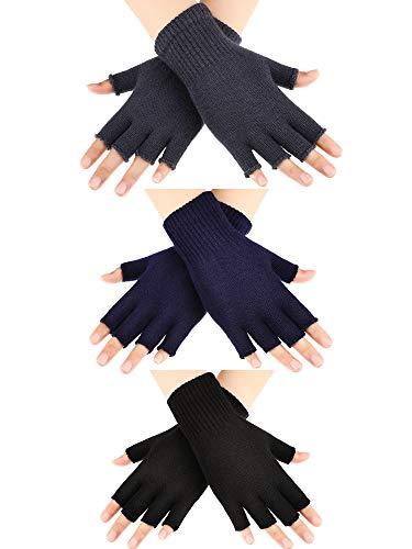 SATINIOR 3 Paar Halb Fingerhandschuhe Winter Fingerlose Handschuhe Strickhandschuhe für Männer Frauen (Farbe...