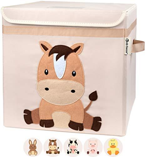 elb finesse ® Aufbewahrungsbox Kinder I süße Bauernhof Motive I extra stabile Spielzeugkiste mit Deckel...