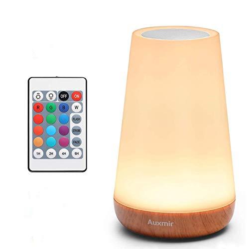 Auxmir LED Nachttischlampe, Dimmbar Atmosphäre Tischlampe mit Warmweißem Licht, 13 Farben und Farbwechsel,...