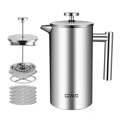 OZAVO Kaffeebereiter, mit Edelstahlfilter, French Press System mit Zweilagiger Konstruktion, 1L