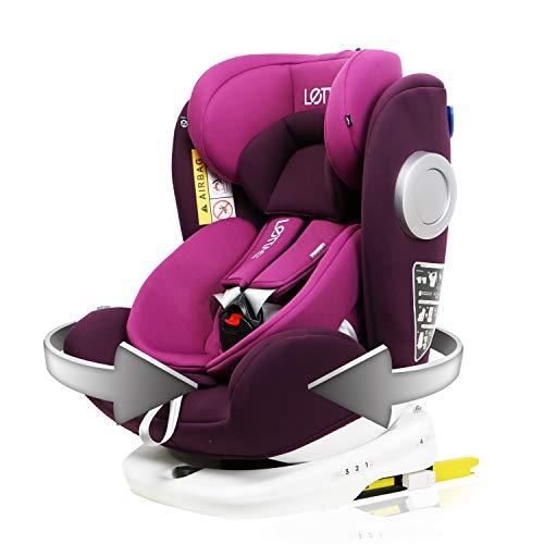 LETTAS Baby Autositz 360° drehbar Gruppe 0+1/2/3 (0-36 kg/0-12 Year) mit Protektoren seitliche Isofix Top...