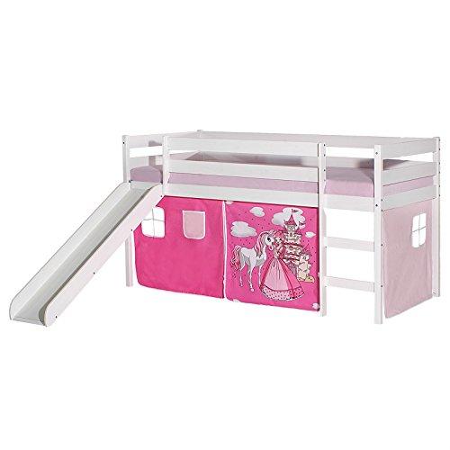 IDIMEX Rutschbett Benny Hochbett Kinderbett Spielbett Holzbett mit Rutsche, Vorhang mit Motiv Prinzessin rosa,...