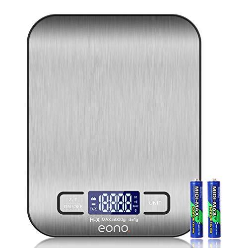 Amazon Brand – Eono Digitale Küchenwaage, Premium Edelstahl-Lebensmittelwaage, wiegt Gramm und Unzen zum...