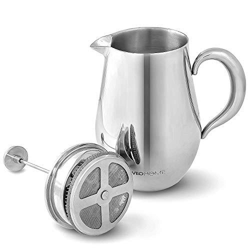VeoHome French Press Kaffeebereiter Kaffeekanne unzerbrechlich und hält Ihren Kaffee Dank der Doppelhülle...
