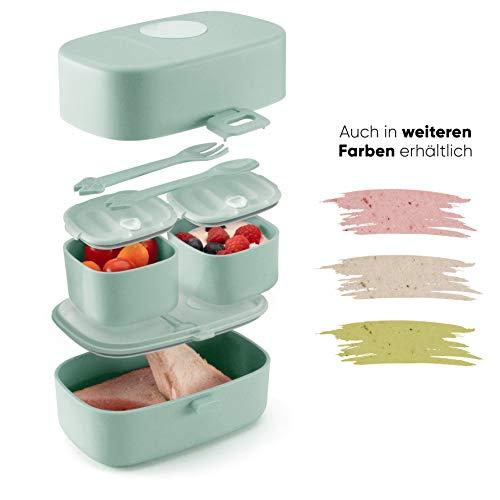 Ecolina ♻ Nachhaltige Lunchbox für Kinder - 3 integrierte praktische Dosen - Extra kinderfreundliche Bento...