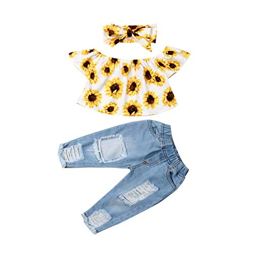 Kleinkind Baby Mädchen Outfits Schulterfrei Sonnenblumen Top Lange Jeans Hosen Stirnband 3 Stück Kleidung...