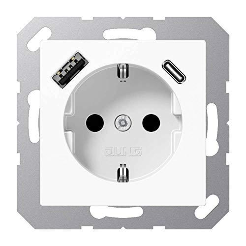 Jung A1520-15CAWW SCHUKO-Steckdose mit USB Typ AC (3A) mit erhöhtem Berührungsschutz (Thermoplast...