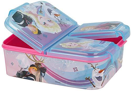 Eiskönigin Kinder Brotdose mit 3 Fächern, Kids Lunchbox,Bento Brotbox für Kinder - ideal für Schule,...