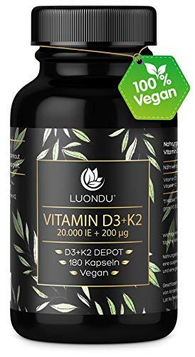 Luondu Vitamin D3 20.000 I.E + Vitamin K2 MK7 200 mcg Depot (180 Kapseln Hochdosiert & Vegan) Vitamin D3 K2...