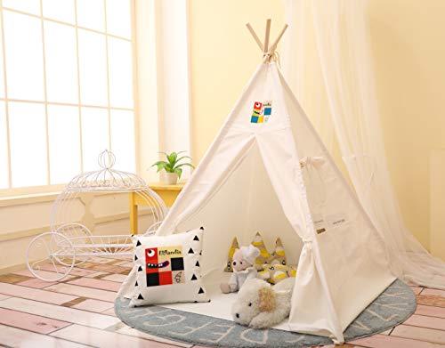Elflandis Tipi Spielzelt für Kinder mit Matte & Aufbewahrungs- Tasche & Box Baumwolle Segeltuch Kinderzelt...