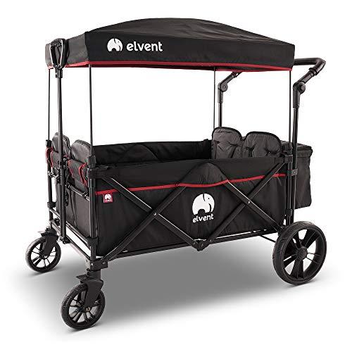 elvent® WagonPro Bollerwagen/Handwagen faltbar mit Dach I 4 Sitzplätze | groß I Sitzpolster, Hecktasche,...