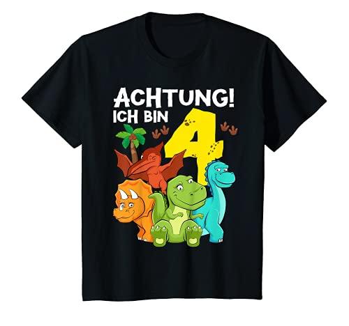 Kinder 4 Jahre alt Geburtstag Junge Dinosaurier Party Dino Motiv T-Shirt