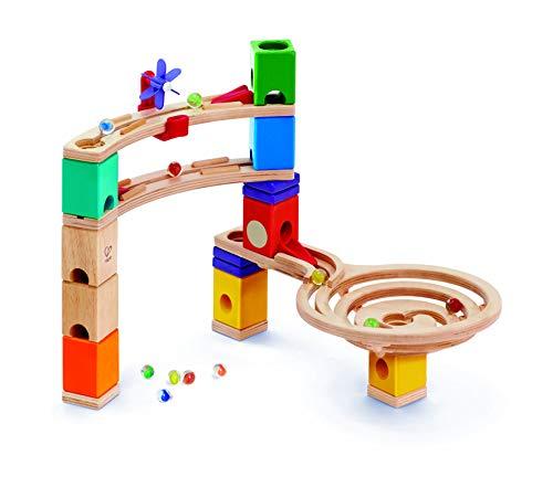 Starter Set Quadrilla, Kugelbahn mit 27 Bauteilen aus Holz und 30 Murmeln, ab 4 Jahren