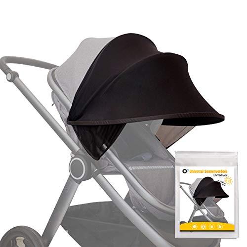 O³ Kinderwagen Sonnenschutz Universal // Sonnenverdeck für Baby Buggy, Sportwagen, Babyschale mit UV-Schutz...