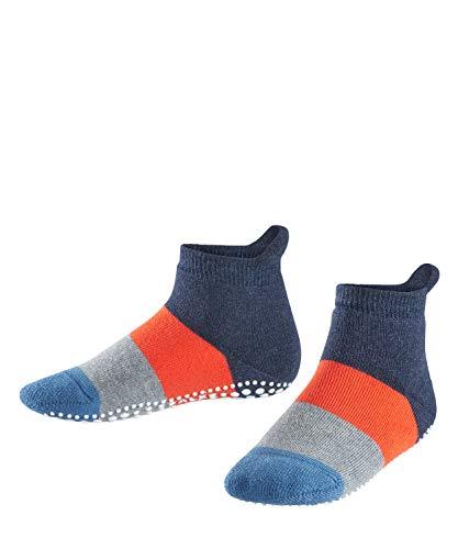 FALKE Unisex Kinder Colour Block Catspads K HP Hausschuh-Socken, Opaque, Blau (Navy Blue Melange 6490), 31-34