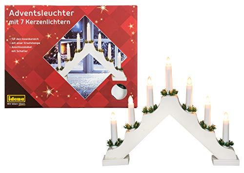 Idena 8582067 - Adventsleuchter aus weiß lackiertem Holz mit 7 Kerzenlichtern, inklusive Ersatzlampe,...