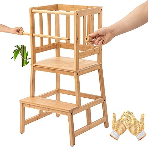 COSYLAND Lernturm Aktualisierter Schemel aus Bambus mit Sicherheitsschiene, Lernstuhl mit rutschfeste Matte...