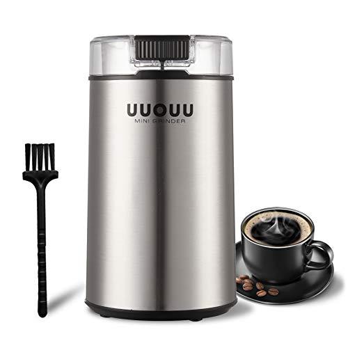 Elektrische Kaffeemühle UUOUU 200W Gewürzmühlen mit Edelstahlklingen Samen Trockenfrüchte Hülsenfrüchte...
