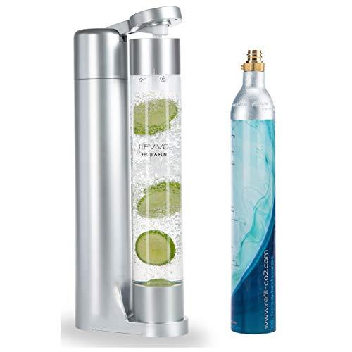 Levivo Wassersprudler Fruit & Fun Sprudler Slim, mit 1-Liter-Sprudlerflasche und CO2-Kohlensäure-Kartusche,...