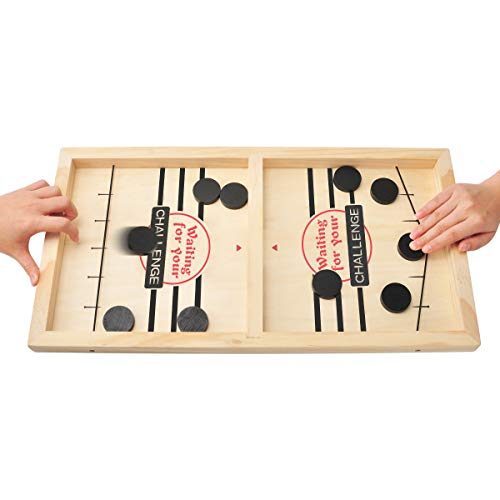 CS COSDDI Schnelles Sling-Puck-Spiel, Holz-Sling-Puck-Brettspiel für Erwachsene Kind Eltern-Kind Interaktive...