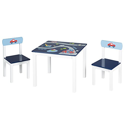 roba Kinder Sitzgruppe 'Rennfahrer', Kindermöbel Set aus 2 Kinderstühlen & 1 Tisch, Sitzgarnitur mit...