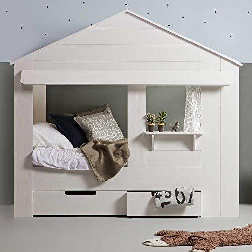 lounge-zone Hüttenbett Kinderbett Hausbett Haus Bett Abenteuerbett Spielbett HUISIE Massivholz Holz weiß...