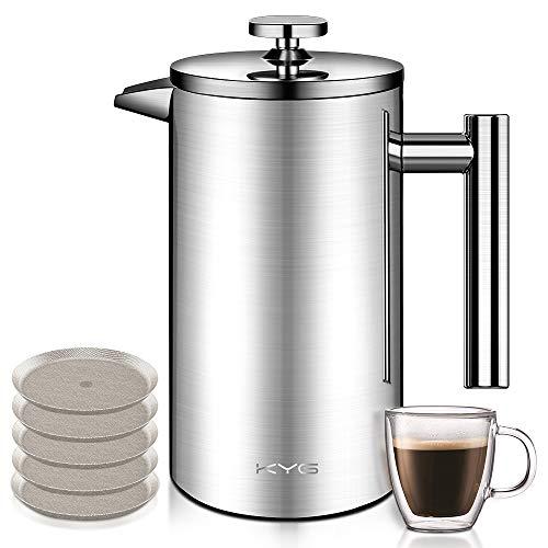KYG Kaffeebereiter aus Edelstahl French Press System mit 5 Edelstahlfilter Doppelwandige französische...