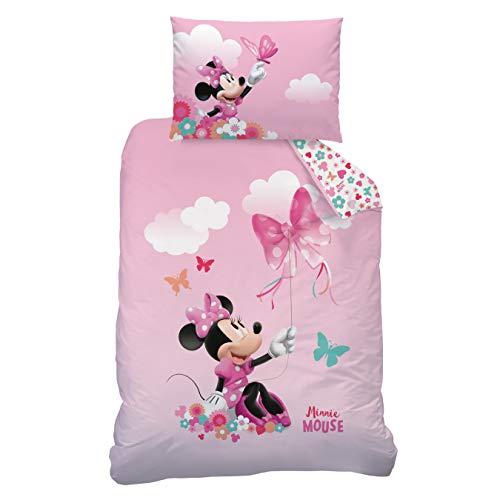 CTI Minnie Mouse Bettwäsche Flanell/Biber ☆ Kinderbettwäsche für Mädchen pink rosa ☆ Disney Minnie...
