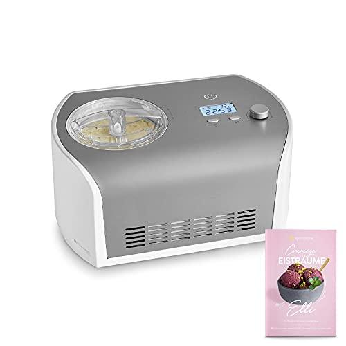 Eismaschine Elli 1,2 L mit selbstkühlendem Kompressor 135 W, aus Edelstahl mit entnehmbarem Eisbehälter,...