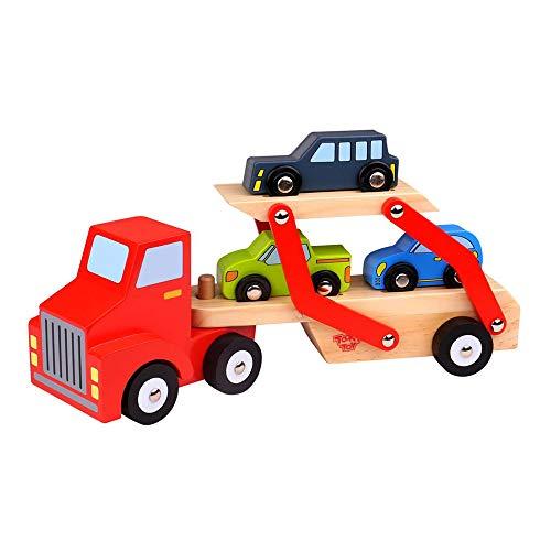 Tooky Toy Holz-Spielzeug Auto-Transporter mit Truck und 3 Autos - garantierter Spielspaß für Kinder ab 3...