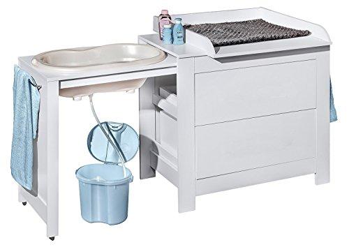 Belivin® 3in1 Wickelkommode weiß | Wickeltisch weiß | ausziehbare Badewanne | umbaubar zur normalen Kommode...