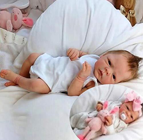 XZHFC Reborn-Puppen Junge, Mädchen 19 Zoll 49 cm Soft Silikon-Realistic Reborn Kleinkind-Baby Puppe...