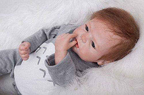 ZELY 55cm 22 Zoll Reborn Baby Puppe Soft Silikon Vinyl Neugeborenen Doll Junge Realistische Kind Spielzeug...
