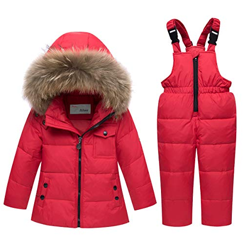 Kinder Bekleidungsset Junge Mädchen Süß Schneeanzug mit Kaputze Baby Daunenjacke + Skihose 2tlg Verdickte...