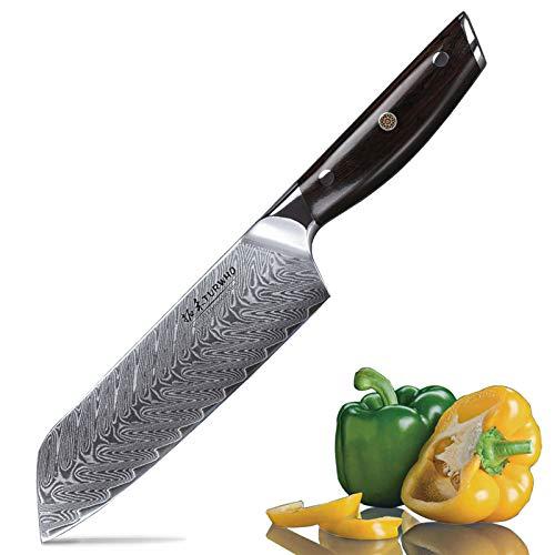 TURWHO Santokumesser Damast,extra Scharfes Messer 18cm aus Profi Küchenmesser Damastmesser,Japanisches...