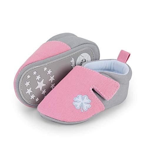 Sterntaler Baby-Krabbelschuhe für Mädchen, Rutschfeste Sohle, Klettverschluss, Kleeblatt-Motiv, Farbe: Rosa,...