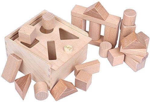 CreaBLOCKS Holzbausteine 2-in-1: Steckbox und Baby-Bauklötze-Set unbehandelte Bauklötze für Kleinkinder ab...