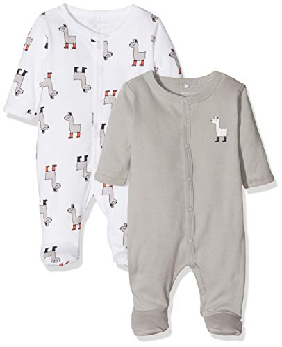 NAME IT Unisex Baby Nbnnightsuit 2p W/f Noos Schlafstrampler, Mehrfarbig (Bright White Bright White), 92 (2er...