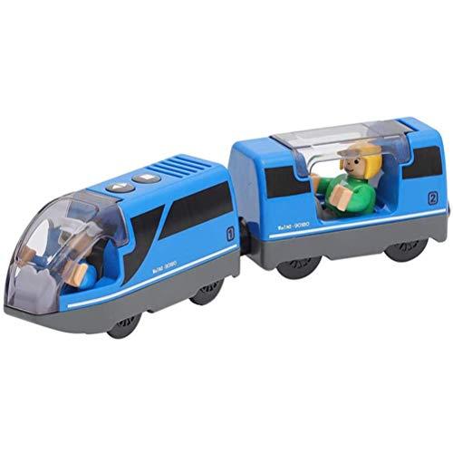QoFina Eisenbahn elektrische lok Holzeisenbahn Zug,Electric Train Toy, Kinder Lokomotive Kompatibel mit...