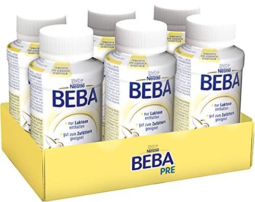 Nestlé BEBA PRE, Säuglingsmilchnahrung von Geburt an, trinkfertige Babymilch im Fläschchen, leicht...