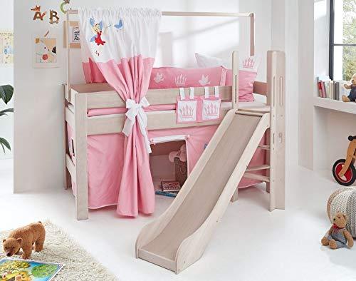 Froschkönig24 Hochbett Leo Kinderbett mit Rutsche Spielbett Bett Weiß Stoffset Prinzessin