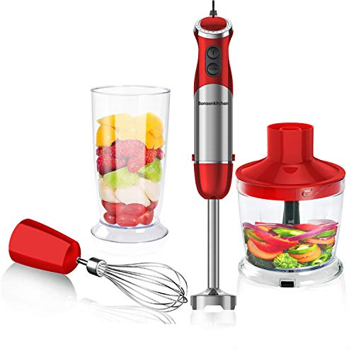 Bonsenkitchen Stabmixer 3-in-1 Set, 800W Anti-Splash Edelstahl Pürierstab mit 500 ml Food Chopper, 600 ml...