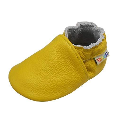 YALION Baby Weicher Leder Lauflernschuhe Krabbelschuhe Babyschuhe Babyhausschuhe(Gelb,EU 22/23=L)