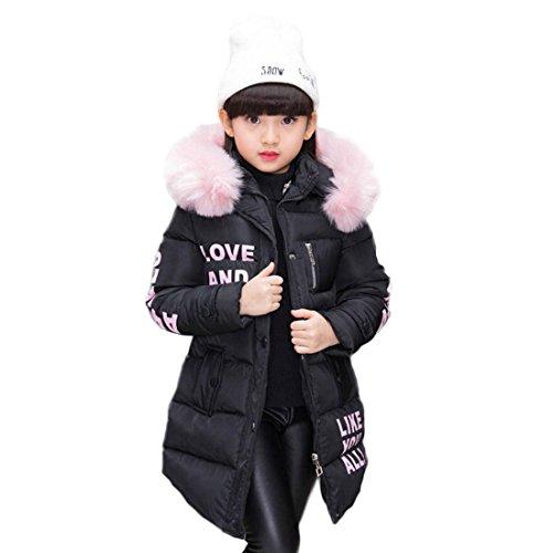 AKAUFENG Mantel Mädchen mit Fellkapuze Lang, Winterjacke Girl mit Pelzmütze Oberbekleidung Kinderjacke