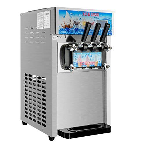 CO-Z Kommerzielle Eiscreme Maschine Speiseeisbereiter 3 Geschmack 18L/H Speiseeismaschine Edelstahl Desktop...