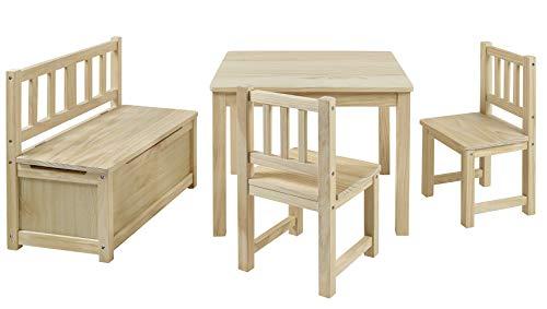 BOMI Kindertisch mit 2 Stühle und Spielzeugkiste | Kindertruhenbank aus Kiefer Massiv Holz für Kinder |...