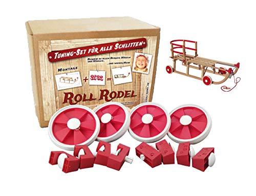Roll Rodel Bausatz - Tuning Set für alle Holzschlitten / Rollen für Kinderschlitten / Räder für Schlitten...