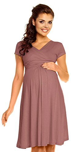 Zeta Ville - Damen - Umstandskleid - Kurzarm - Sommerkleid für Schwangere - 108c (Cappuccino, 46, 3XL)