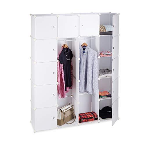 Relaxdays Kleiderschrank Stecksystem mit 2 Kleiderstangen, Garderobe mit 14 Fächer, Kunststoff Regalsystem,...